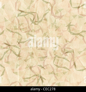 Grungy and grainy bleached abstract color background, made of intersecting geometric figures, vintage paper texture - Stock Photo