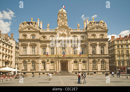 EUROPE, FRANCE, Lyons, Place des Terreaux, City Hall - Stock Photo