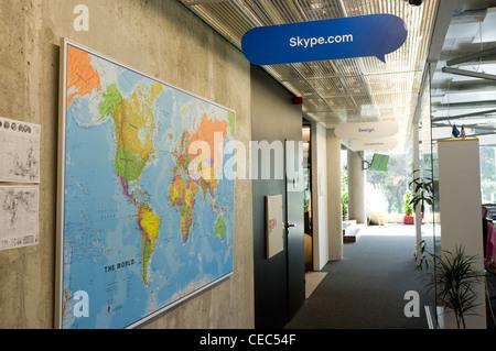 Corridor with world map at the Skype Worldwide Headquarters, Tallinn, Estonia - Stock Photo
