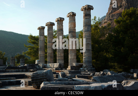Columns of the Athena Temple in the ancient Ionian city of Priene Antalya Turkey - Stock Photo