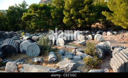 Fallen columns from the Athena Temple in the ancient Ionian city of Priene Antalya Turkey - Stock Photo