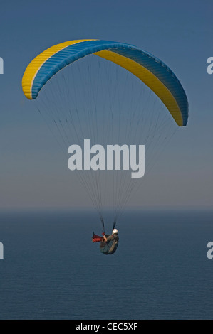 EUROPE, SPAIN, la Coruňa, paraglider in flight - Stock Photo