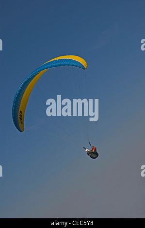 EUROPE, SPAIN, la Coruňa, paraglider in flight - Stock Photo