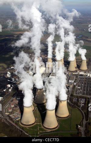 Aerial image of Drax Power Station near Selby, North Yorkshire. Steam emissions pollution. - Stock Photo