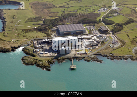 Aerial image of Wylfa nuclear Power Station, Wylfa Head, Anglesey, North Wales, sometimes referred to as Wilfa - Stock Photo