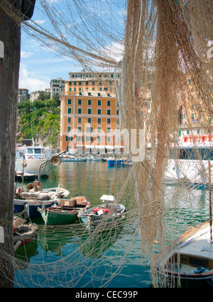 Fishing harbour of Camogli, fishing village at  province Genua, Liguria, Levante, Italy, Mediterranean sea, Europe - Stock Photo