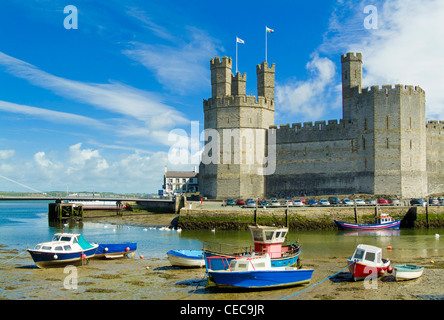 Towers and battlements of Caernarfon Castle a medieval monument in North Wales UK GB EU Europe - Stock Photo
