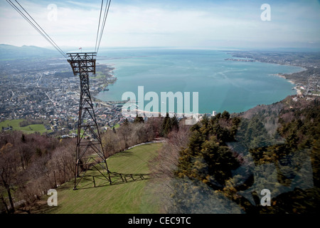 View from the Pfaender near Bregenz in Austria on the Lake Constance in early spring - Stock Photo