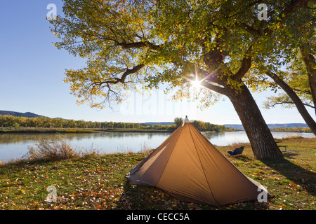 Tent at Judith River Campsite on the Upper Missouri River Breaks National Monument, Montana, USA - Stock Photo
