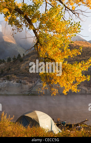 Tent at campsite on the Upper Missouri River Breaks National Monument, Montana, USA - Stock Photo