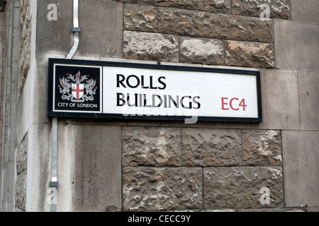 Rolls Buildings Street sign Fetter Lane City of London EC4 - Stock Photo