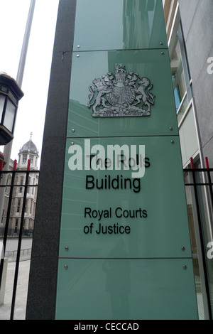 The new Rolls Building Royal Courts of Justice sign Fetter Lane London England UK   KATHY DEWITT - Stock Photo