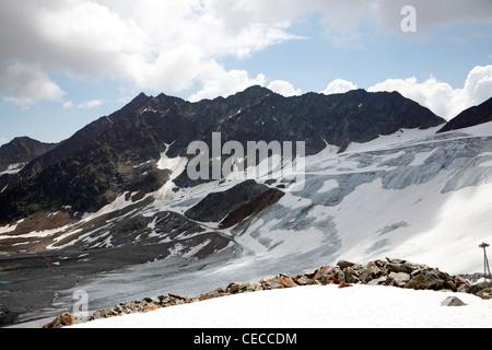 The Rettenbach glacier in Sölden, Ötztal, Tyrol, Austria in July - Stock Photo