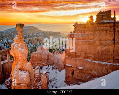 Sunrise at Thor's Hammer. Bryce Canyon National Park, Utah. - Stock Photo