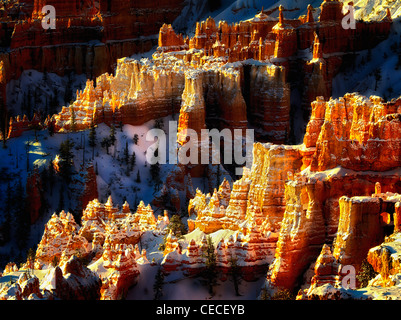 Snow on hoodoos. Bryce Canyon National Park, Utah. - Stock Photo