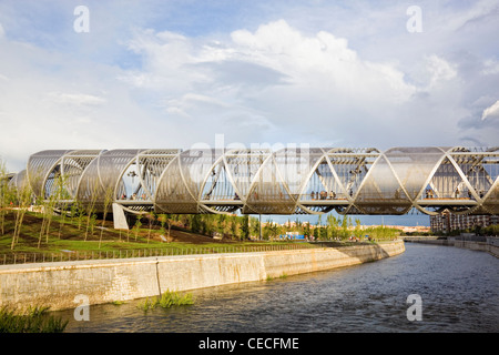 Close view of the Perrault bridge in Madrid, over the river Manzanares - Stock Photo