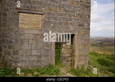 Top Withens (plaque on wall) crumbling farmhouse ruin on wild remote Pennine moors (Wuthering Heights?) - near Haworth, - Stock Photo