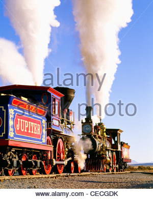 Working replicas of the two locomotives that met on May 10, 1869.  [Golden Spike National Historic Site] Utah - Stock Photo