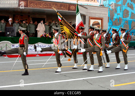 Spiritual Leader of the Islamic Republic of Iran and Commander of the army Ayatollah Khamenei at a parade of the - Stock Photo