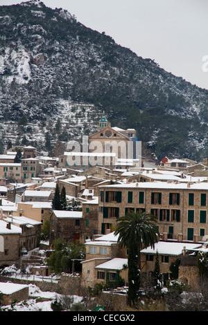 Valldemossa little village on Serra de Tramuntana in winter with snow, Majorca Mallorca Balearic Spain - Stock Photo