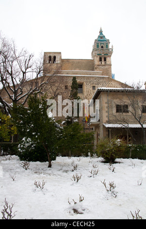 La Cartuja Valldemossa Majorca Mallorca winter snow Balearic islands Spain - Stock Photo