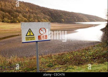 Low water level after dry summer drought & danger warning signs (deep water bathing) - ironic - Lindley Wood Reservoir, - Stock Photo