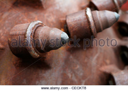 part of drill head of a tunnel drilling machine - Stock Photo