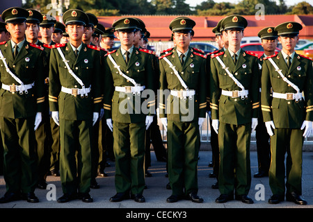 China,Beijing,Peoples' Liberation Army (PLA) Soldiers at Tiananmen Square - Stock Photo