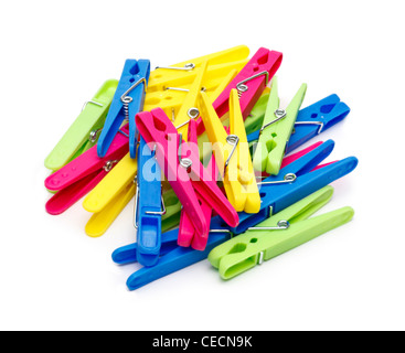 Pile of clothes pegs on white background - Stock Photo