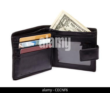 Wallet with dollars - on white background - Stock Photo