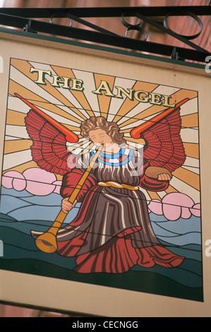 England, London, The Angel Pub Sign - Stock Photo