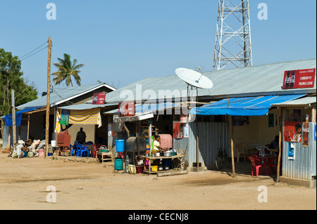 Small restaurant with satellite dish in Same Kilimanjaro Region Tanzania - Stock Photo