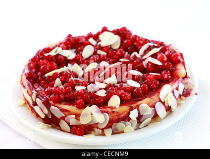Delicious redcurrant pie with almond - Stock Photo