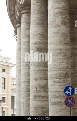 The Massive pillars outside St. Peter's Basilica Basilica di San Pietro Vatican city Rome - Stock Photo