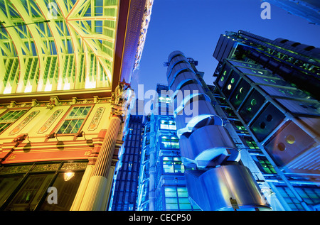 England, London, Leadenhall Street Market and Lloyds Building - Stock Photo