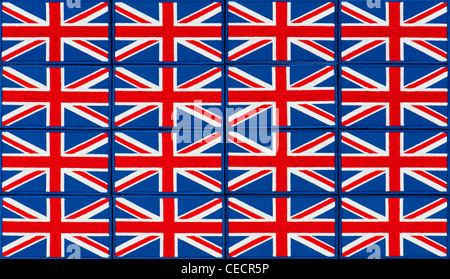 Union Jack flag embroidered patch pattern - Stock Photo