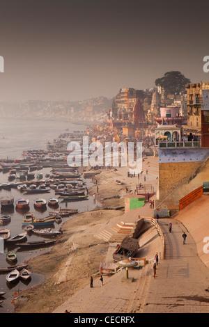 India, Uttar Pradesh, Varanasi, early morning view along River Ganges ghats - Stock Photo