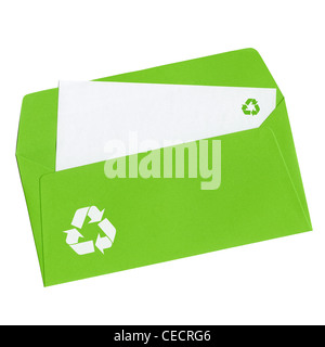 Stamp '100% natural' with clover symbol on a blank letter in open green envelope, isolated on white background - Stock Photo