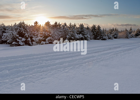 Snowy landscape after winter storm, Iceland - Stock Photo