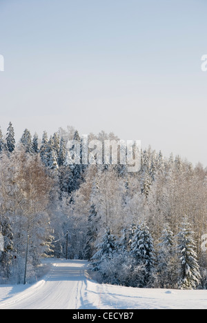 Wintery Country road in Hollola Finland - Stock Photo