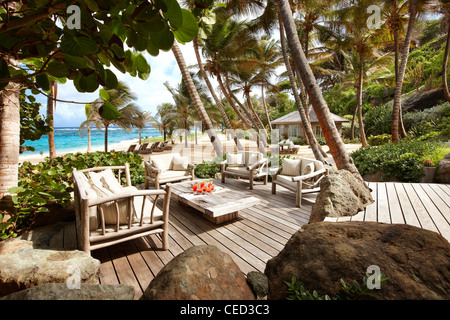 relaxed seating area on beach - Stock Photo