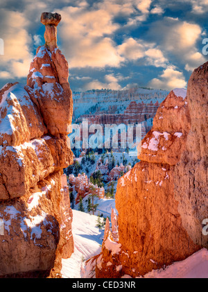 Snow on Hoodoos. Bryce Canyon National Park, Utah - Stock Photo