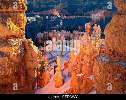 Snow on Hoodoos. Bryce Canyon National Park, Utah - Stock Photo