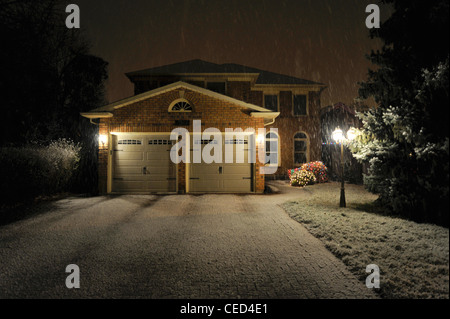 Modern Canadian detached family house in winter - Stock Photo