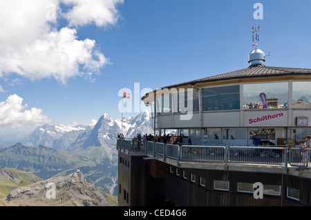 Horizontal view of the observation deck at the summit of the Schilthorn, nearly 3000m above sea level, on a beautiful - Stock Photo