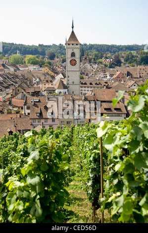 Vertical wide angle view of the old city of Schaffhausen and the prominent belltower of St John's church on a bright - Stock Photo