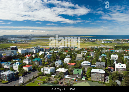 Aerial view of Reykjavik city on Iceland from Hallgrimskirkja church - Stock Photo