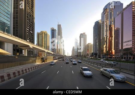 Traffic, Modern architecture, high-rise buildings, Sheikh Zayed Road, Downtown Dubai, Dubai, United Arab Emirates, - Stock Photo