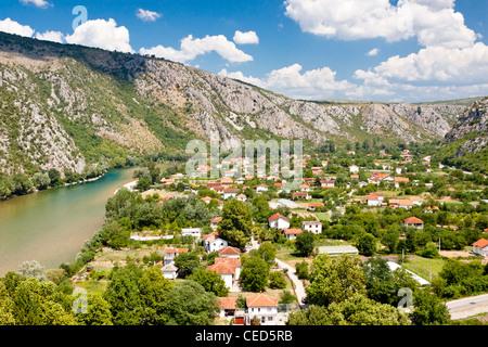 Pocitelj beauty old village on the valley. Bosnia and Herzegovina. - Stock Photo