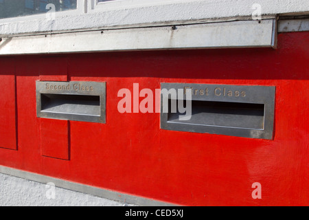 First Class and Second Class mail posting boxes, Penzance Sorting Office, Cornwall UK - Stock Photo